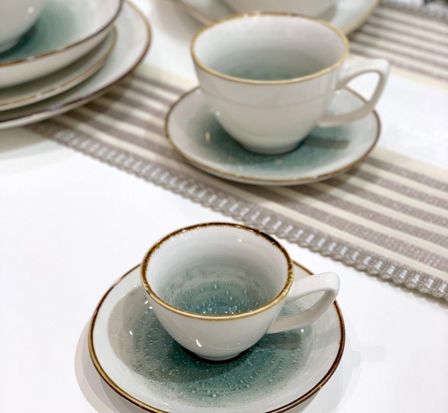 Bricard Amiens Mavi - Kahve Turk Kahve Takimi 12-Parca  6-Kisilik