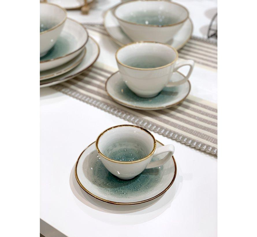 Bricard Amiens Blauw - Bruin Espresso set 12-Delig | 6-Persoons