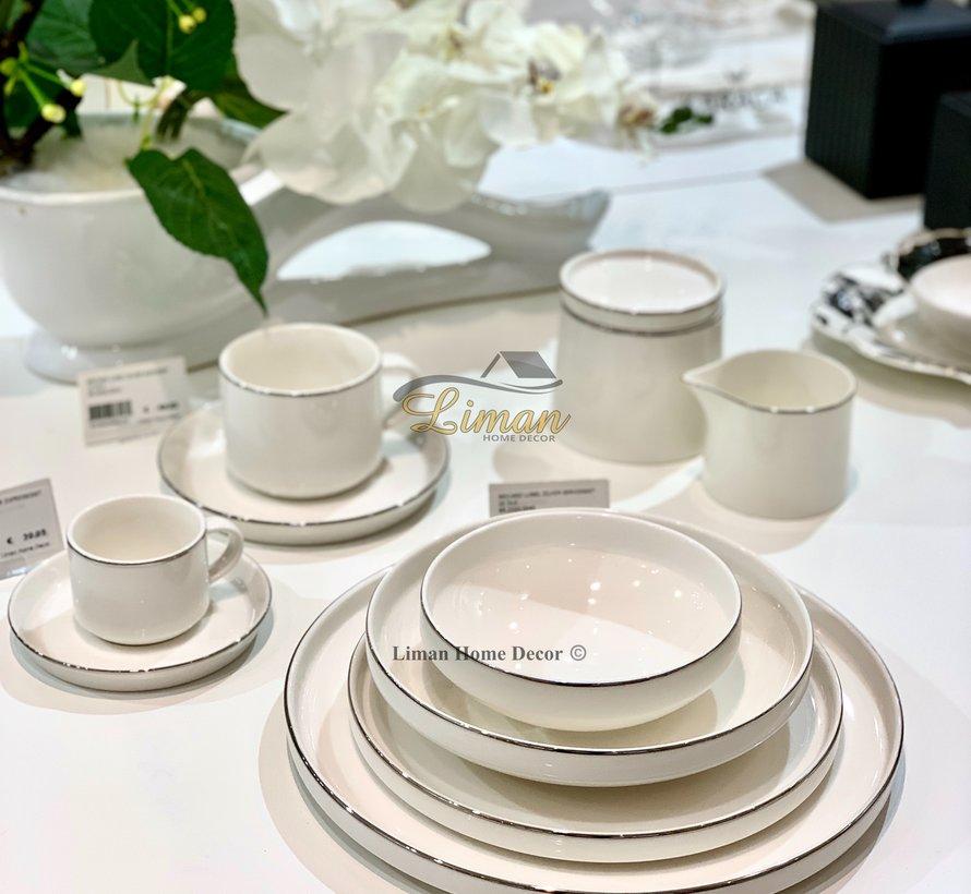 Bricard Porcelain Lunel 6-Persoons | 24-Delig Serviesset Zilver
