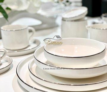BRICARD PORCELAIN Bricard Porcelain Lunel 6-Persoons | 24-Delig Serviesset Zilver