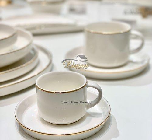 BRICARD PORCELAIN Bricard Lunel Espresso set 12-Delig | 6-Persoons Goud