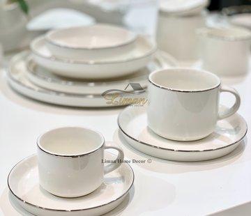 BRICARD PORCELAIN Bricard Lunel Espresso set 12-Delig | 6-Persoons Zilver