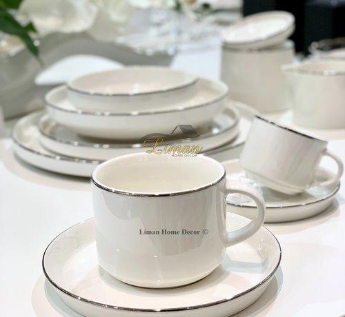 BRICARD PORCELAIN Bricard Lunel Koffie & Teaset 12 Delig Zilver