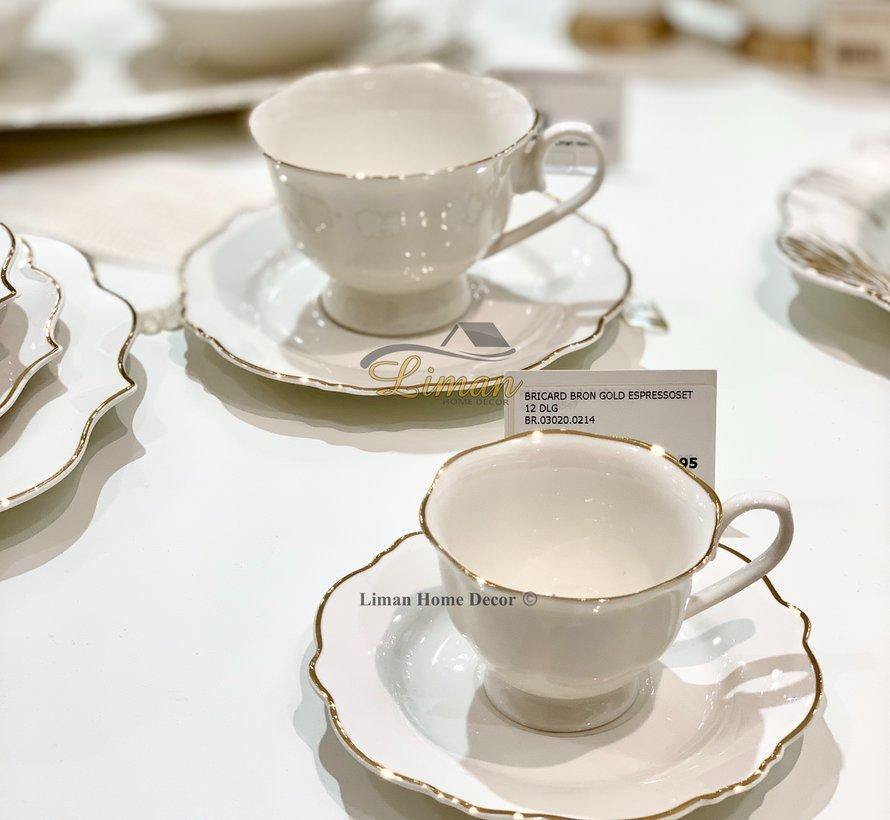 Bricard Bron Espresso set 12-Delig | 6-Persoons Goud