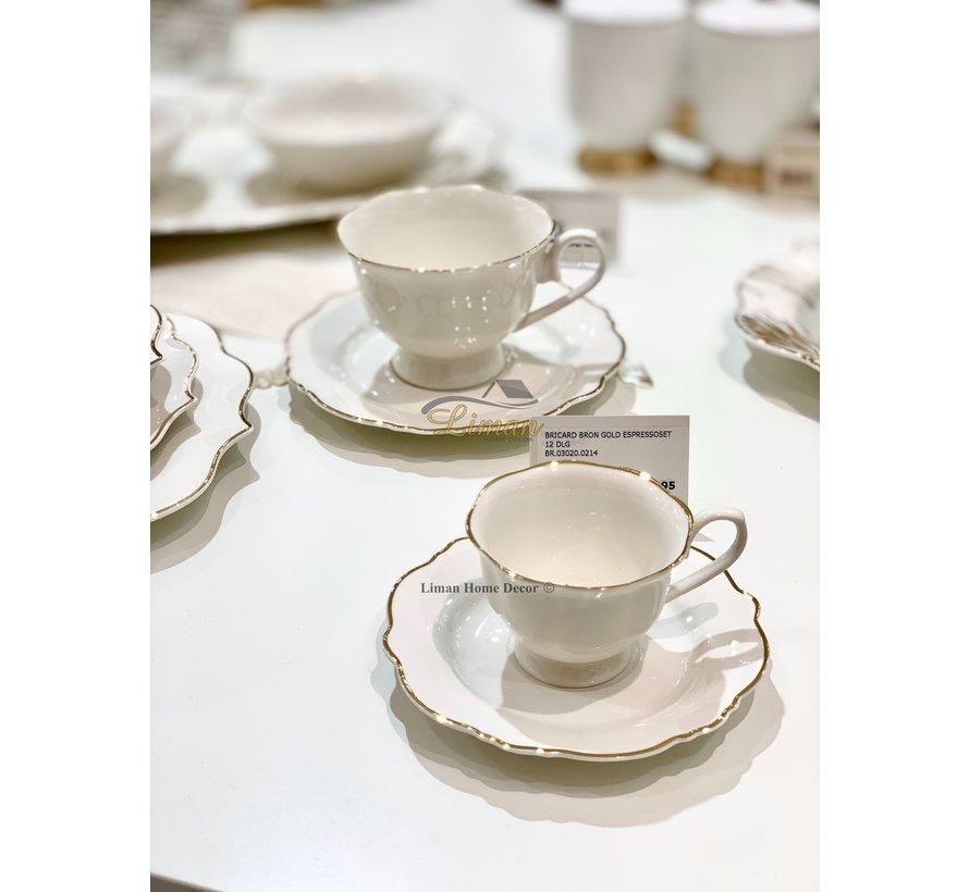Bricard Bron Espresso set 12-Delig   6-Persoons Goud