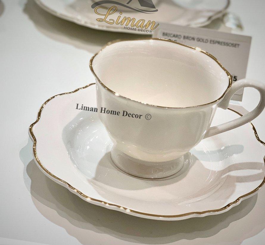Bricard Bron 12 Delig  Koffie & Tea set Gold