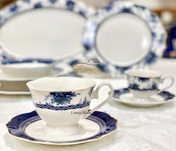 BRICARD PORCELAIN Bricard Bron 12 Delig  Koffie & Tea set Blauw