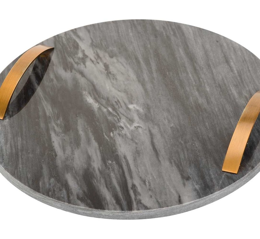 COSY TRAY BLACK D30CM ROUND MARBLE WITH HANDLES
