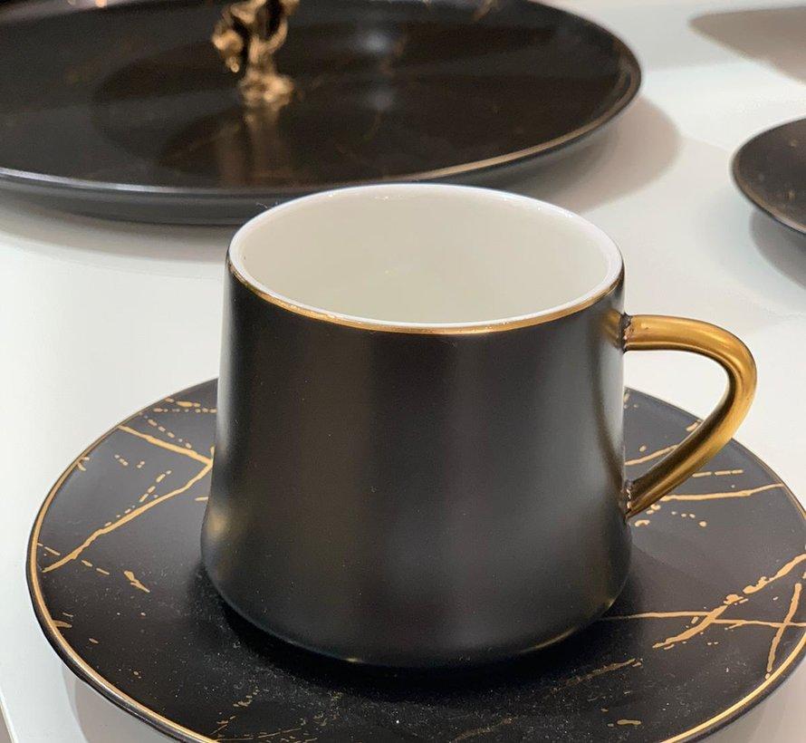 La Otantik Luxe Marmer Koffies set 12-Delig | 6-Persoons Zwart
