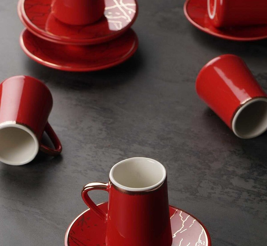 Acr Mina Espresso set 12-Delig | 6-Persoons Rood
