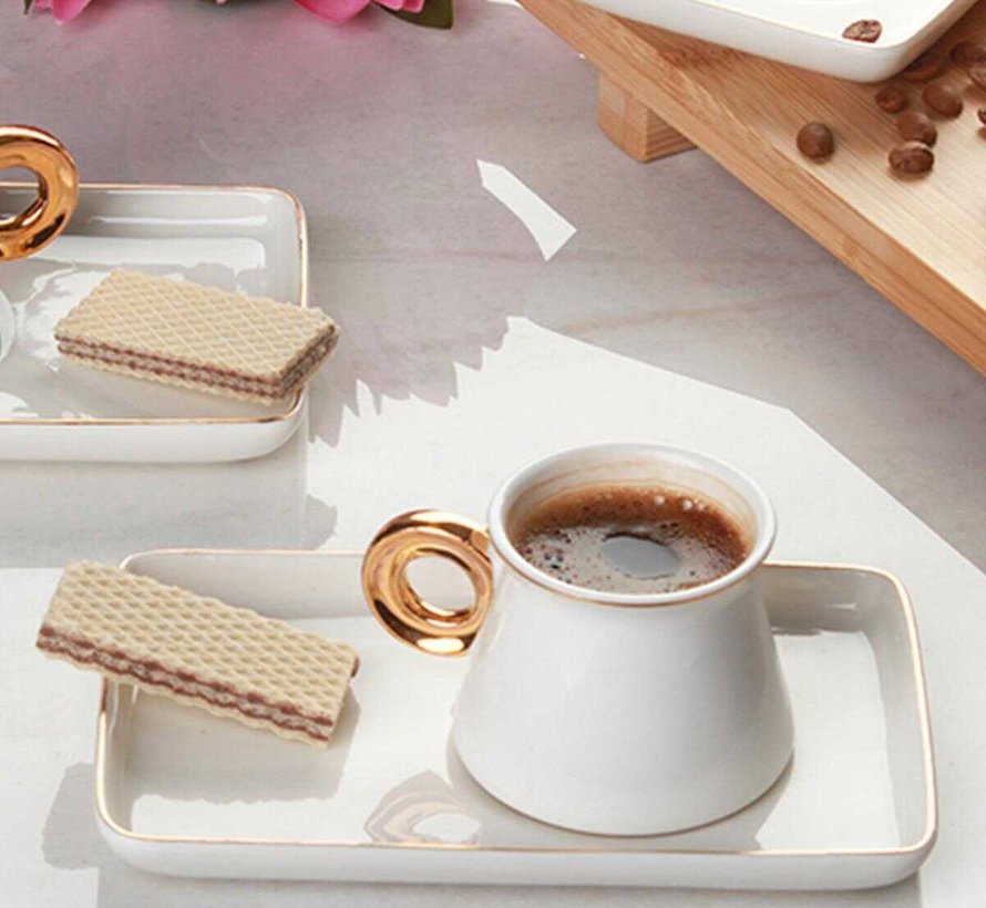Acr Ring Espresso set 12-Delig | 6-Persoons Wit