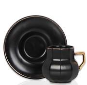 ACR Acr Octagon 6 Kisilik Turk Kahvesi Seti Siyah