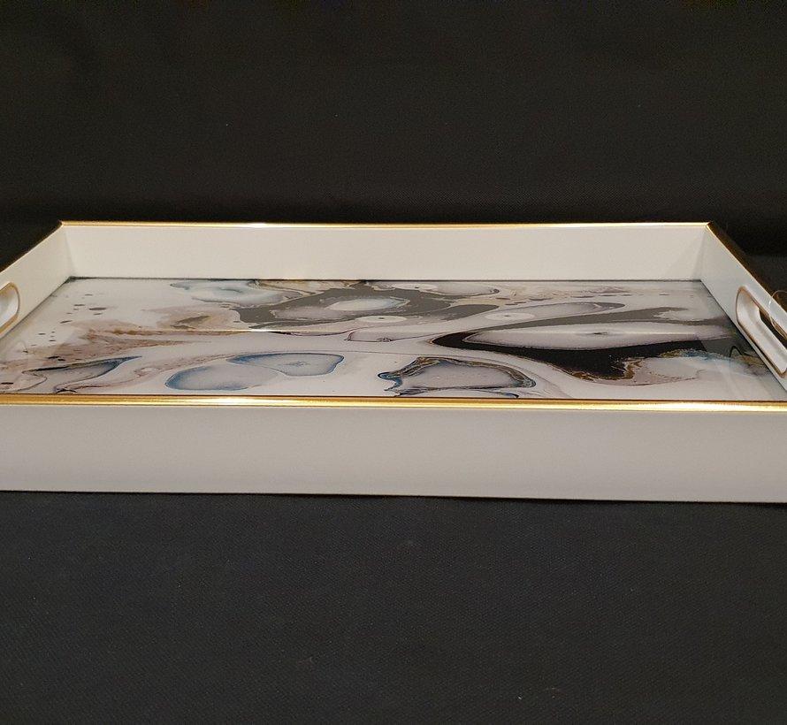 Fugurato Epoxy Style Rechthoek Wit Marble Dienblad 009