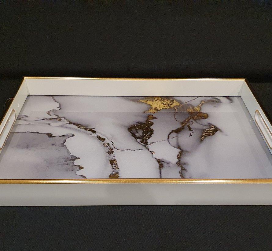 Fugurato Rechthoek Wit Marble Dienblad 006