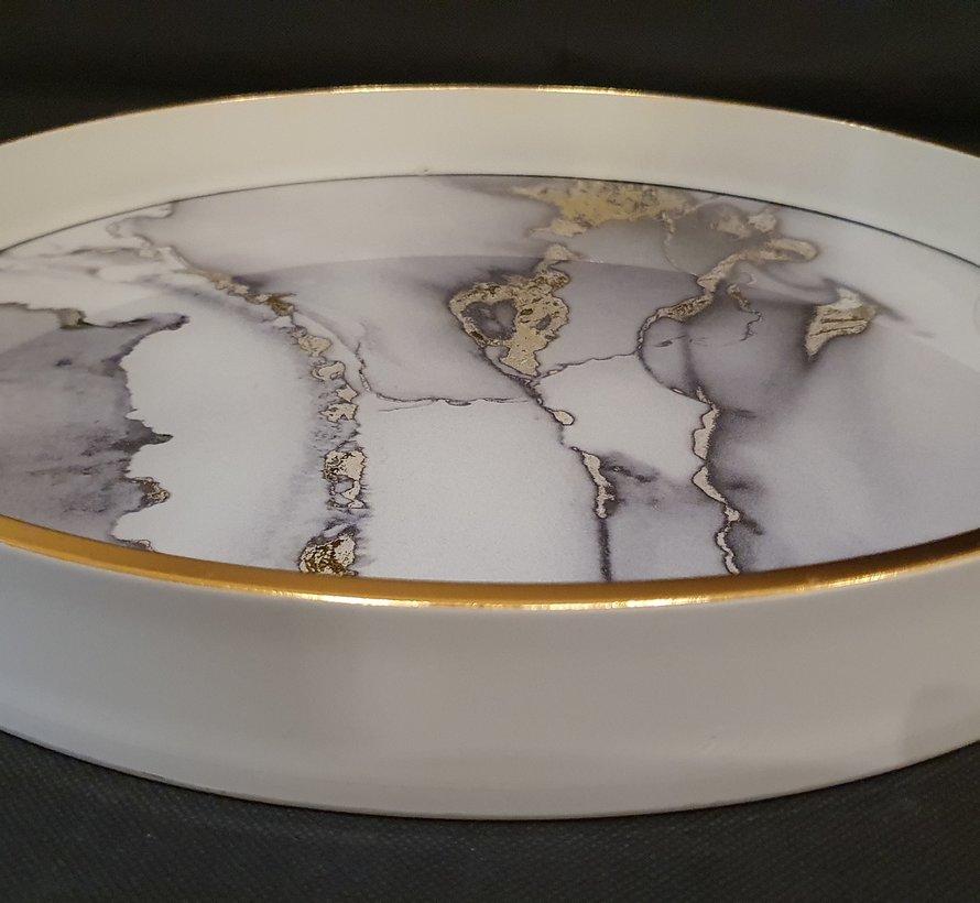 Fugurato Ronde Dienblad Wit Marble 005