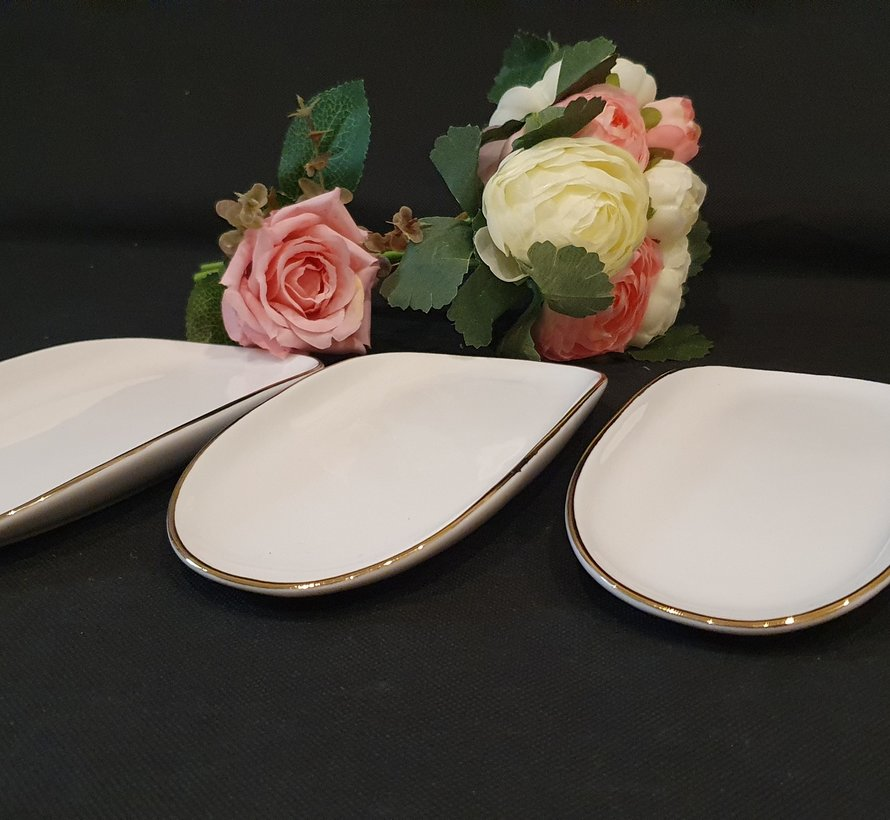 Bricard Porcelain Evry Wit - Goud 6 Delig Serveerschaal