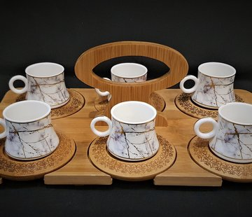 Zellerfeld Bamboe Dienblad - Marmer Espressoset