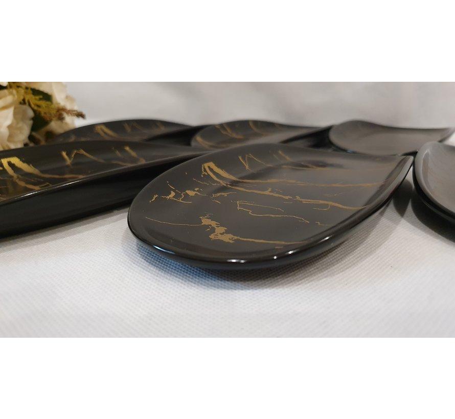 Bricard Marbel Zwart 6 Delig Serveerschaal