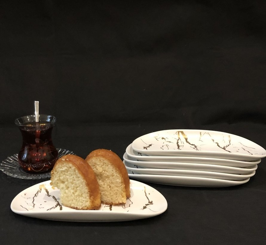 Bricard Marbel Wit 6 Delig Serveerschaal