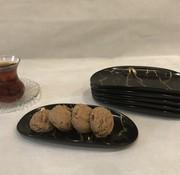 BRICARD PORCELAIN Bricard Marbel Zwart 6 Delig Serveerschaal