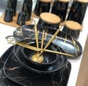 BRICARD PORCELAIN Bricard Porcelain Mat Marbel Zwart 6-Persoons | 25-Delig Serviesset
