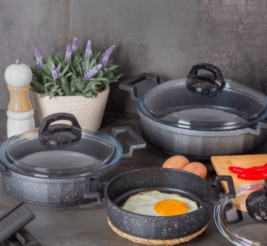 Acr Mini Granit Kook Pannenset 6 Delig Antrasiet