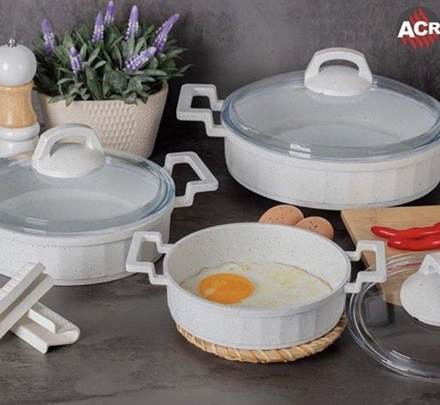 Acr Mini Granit Kook Pannenset 6 Delig Wit
