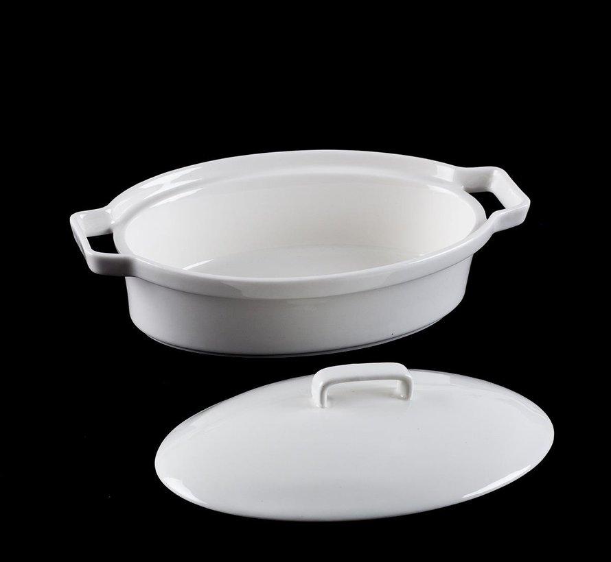 ACR Bianco perla Ovenschaal Ovaal met Deksel 17 Cm