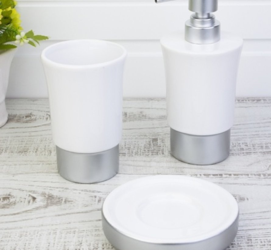 ACR Zilver porseleinen badkamer set 3 dlg