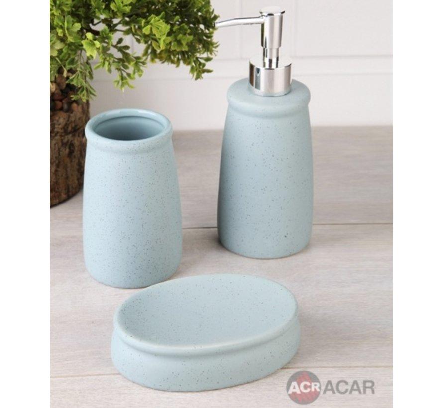 ACR Mat Blauw / Mint porseleinen badkamer set 3 dlg