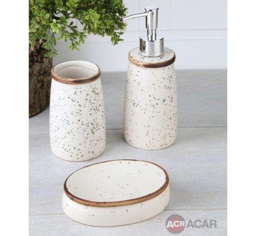 ACR Cream / Bruin porseleinen badkamer set 3 dlg