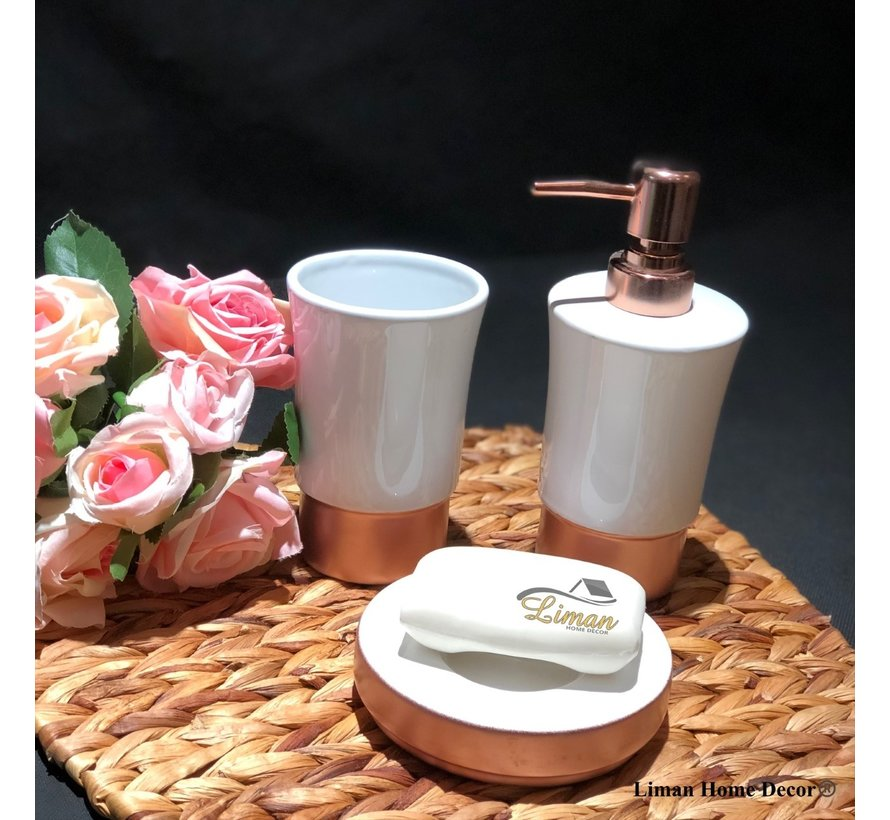 ACR Rose porseleinen badkamer set 3 dlg