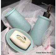 ACR ACR Mat Blauw / Mint porseleinen badkamer set 3 dlg