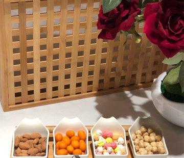 ACR ACR Snack Schaal Met Bamboe Dienblad 5 Delig