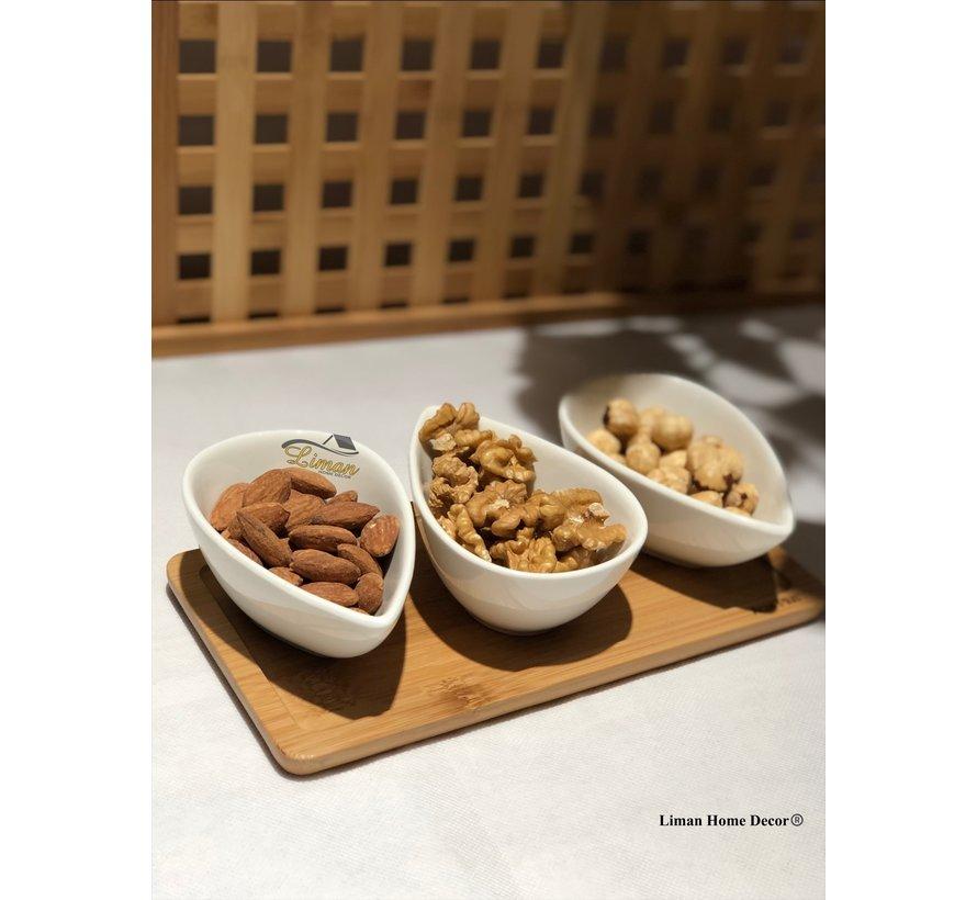 ACR 4 delig Snackschaal Met Bamboe Serveerschaal