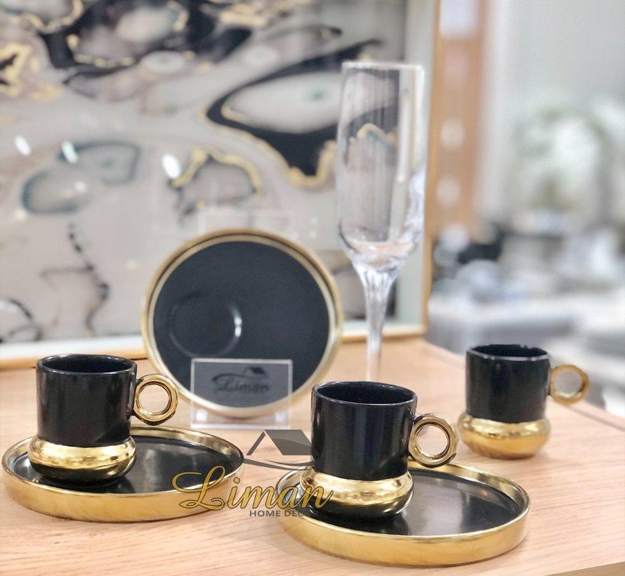 Acr Posedion Espressoset 12-Delig | 6-Persoons Zwart