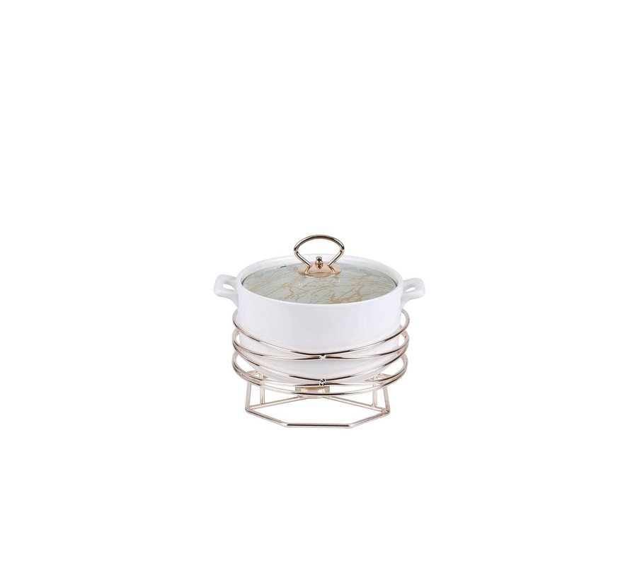 ACR Stoneware Rozelly Rond Ovenschaal Met stand  23.5 Cm