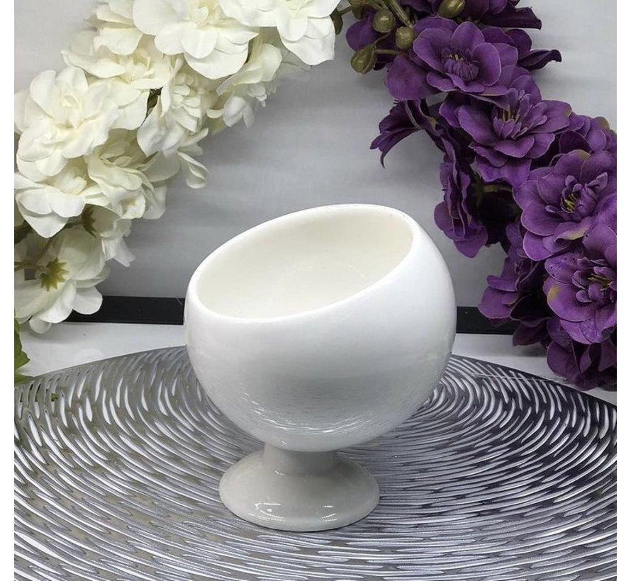 ACR Bianco Perla Schuine schaal met Voet 11 Cm