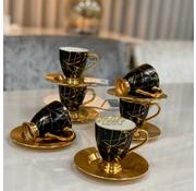 ACR ACR Lena Marmer Espressoset 12-Delig | 6-Persoons Zwart