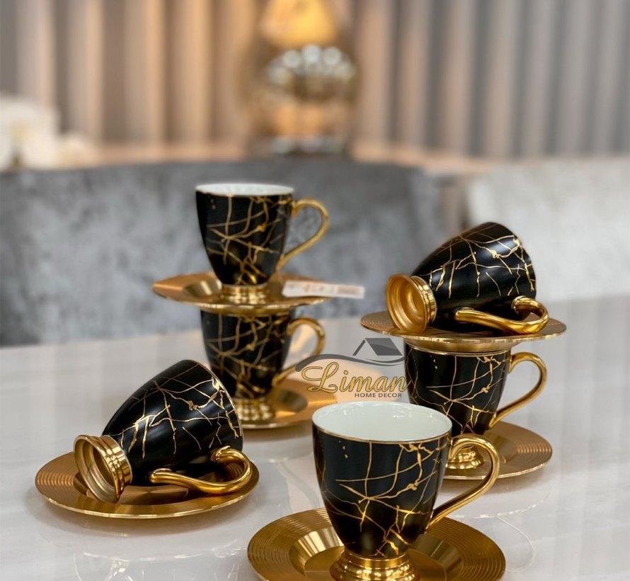 ACR Lena Marmer Espressoset 12-Delig | 6-Persoons Zwart