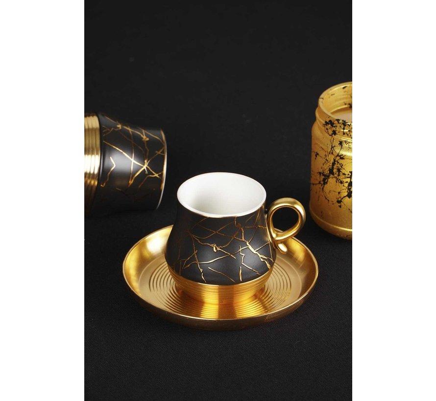 ACR Liva Marmer Espressoset 12-Delig   6-Persoons Zwart
