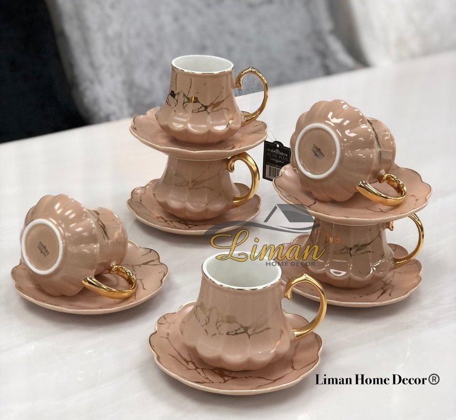 ACR Selina Nescafe Set 12-Delig | 6-Persoons Oud Roze