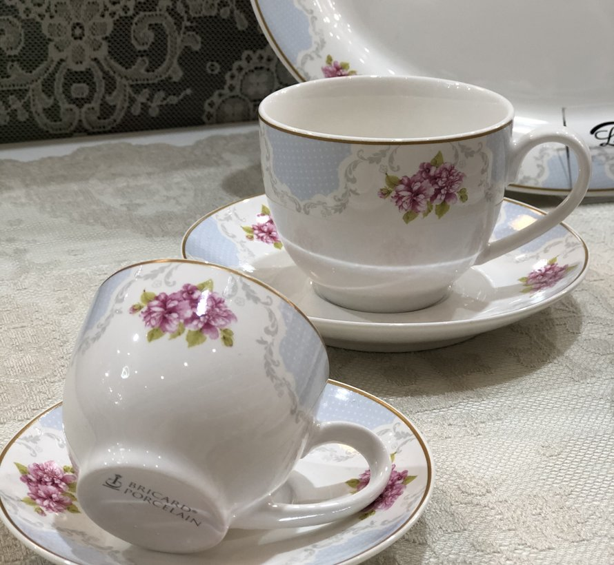 Bricard Porcelain '' Carnon '' 86-dlg Fine Bone Serviesset