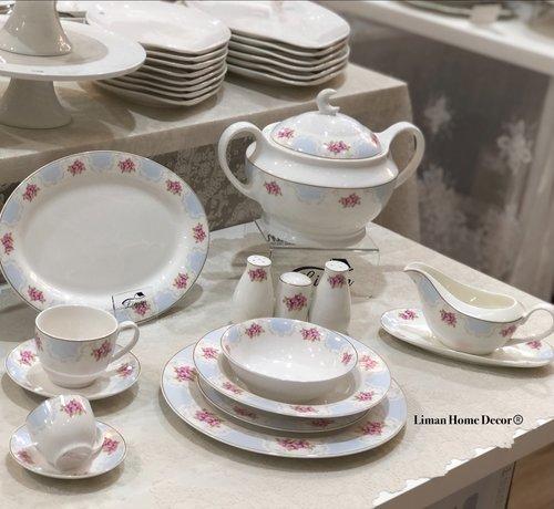 BRICARD PORCELAIN Bricard Porcelain '' Carnon '' 86-dlg Fine Bone Serviesset