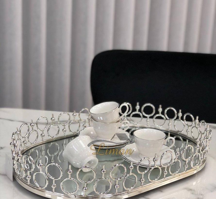 ACR Oriental Dienblad Ovaal Zilver