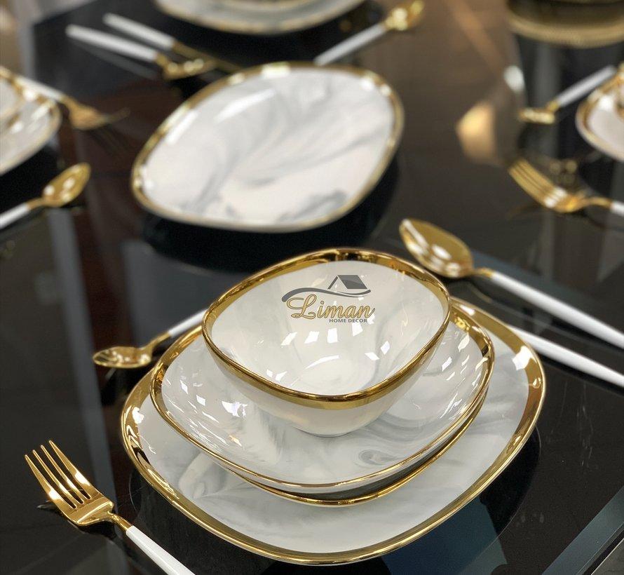 Bricard Porcelain Sens 6-Person | 25-Piece Dinner sets Marble-Grey