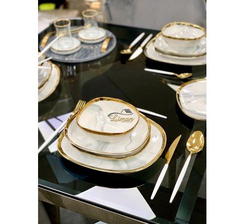 BRICARD PORCELAIN Bricard Porcelain Sens 6-Persoons   25-Delig Serviesset Marbel Grijs