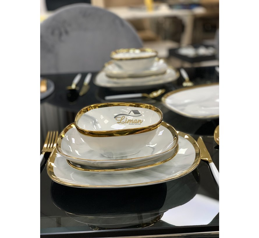 Bricard Porcelain Sens 6-Personen | 25-Teilig Tafelservice Marble-Grey