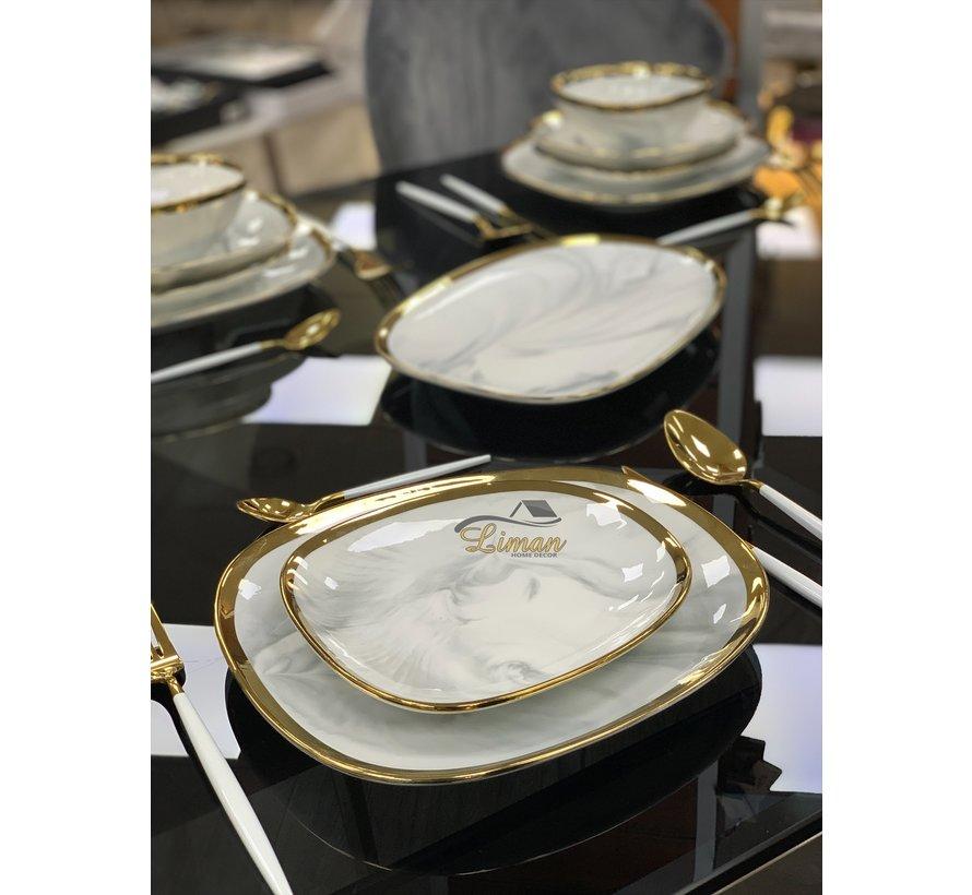 Bricard Porcelain Sens 6-Persoons   25-Delig Serviesset Marbel Grijs