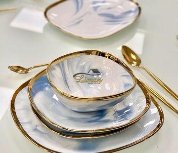 BRICARD PORCELAIN Bricard Porcelain Sens 6-Persoons | 25-Delig Serviesset  Marbel Blauw